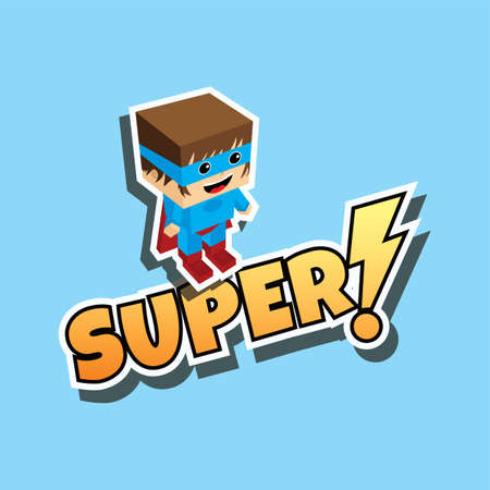 spandex: great superhero cartoon theme vector art illustration Illustration