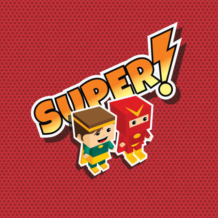 sexy muscular man: great superhero couple cartoon theme vector illustration Illustration
