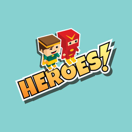 cool guy: great superhero couple cartoon theme vector illustration Illustration