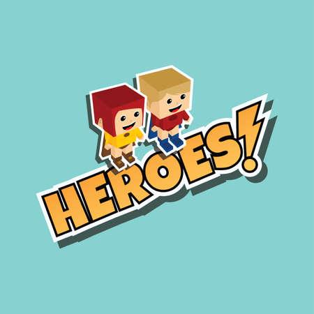 superheroine: great superhero couple cartoon theme vector illustration Illustration