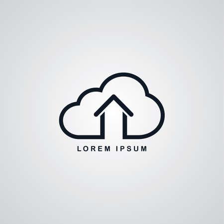 ftp servers: host cloud home theme vector art illustration