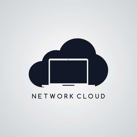 ftp: laptop notebook cloud theme vector art illustration Illustration