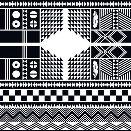 african warriors: native pattern tribe culture theme vector art illustration Illustration