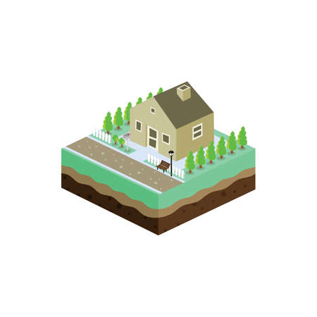 family in front of house: isometric residential view cartoon theme vector illustration