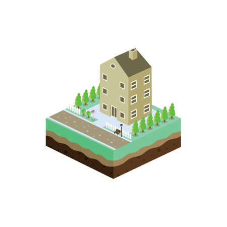 residential: isometric residential view cartoon theme vector illustration