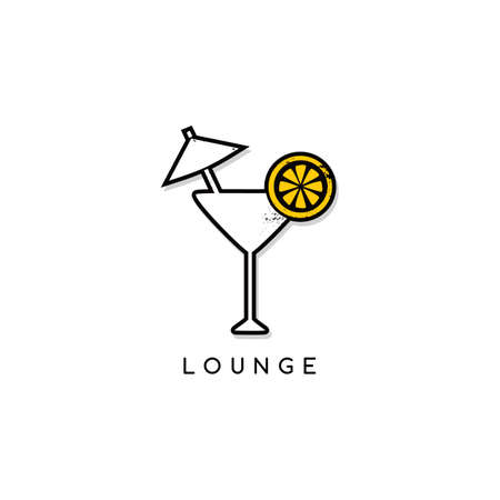 lounge bar: cocktail glass lounge bar theme vector art illustration