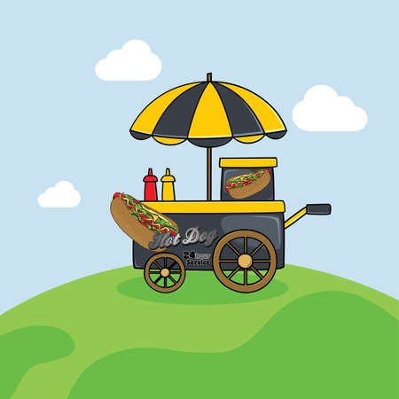 show case: food cart vendor cartoon theme vector art illustration