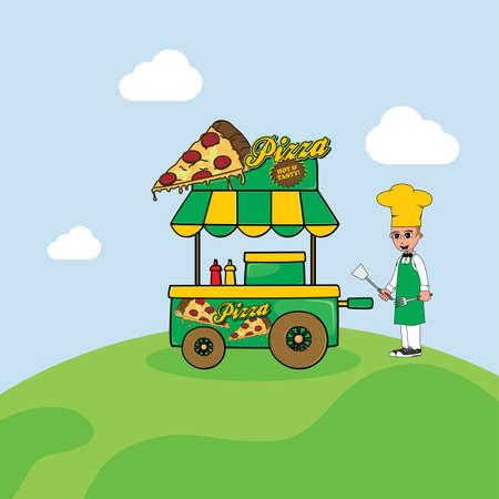 vendor: food cart vendor cartoon theme vector art illustration