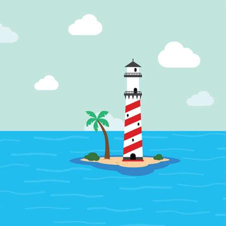 light house: beach lighthouse seashore view vector art illustration
