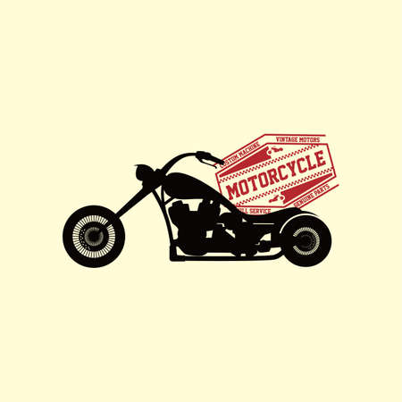 bicicleta vector: custom motorcycle chopper bike vector art illustration