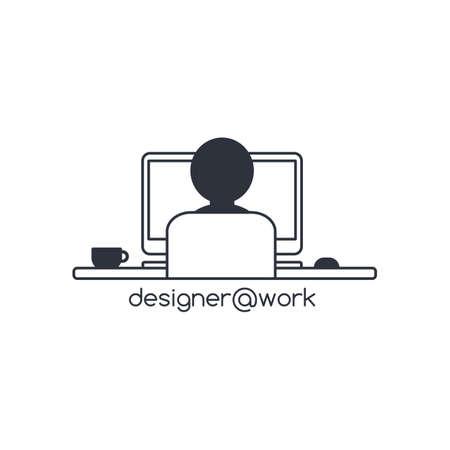 person computer: designer programmer computer theme vector art illustration