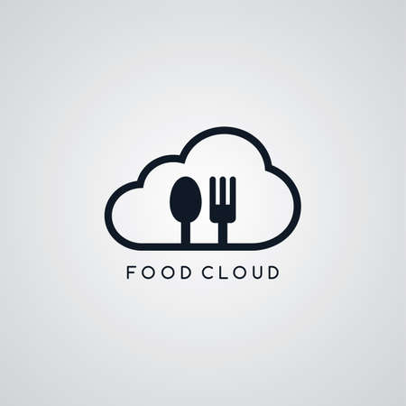remote server: food cloud fork spoon theme vector art illustration