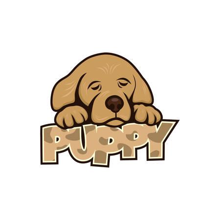 laying little: cute little puppy theme vector art illustration Illustration