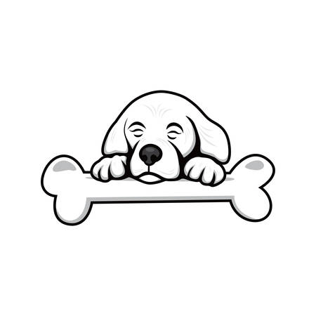 whelp: cute little puppy with bone theme vector art illustration