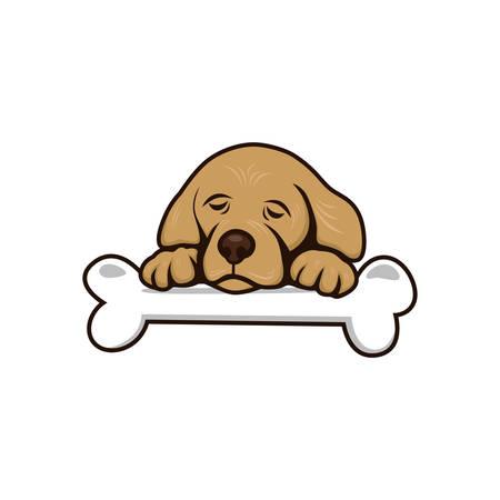 friend  nobody: cute little puppy with bone theme vector art illustration