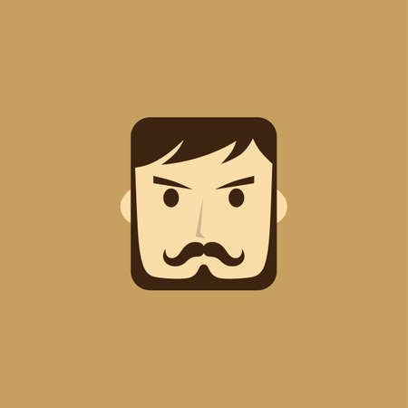 style goatee: mangentleman avatar portrait icon vector art illustration