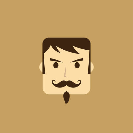 good looking boy: mangentleman avatar portrait icon vector art illustration