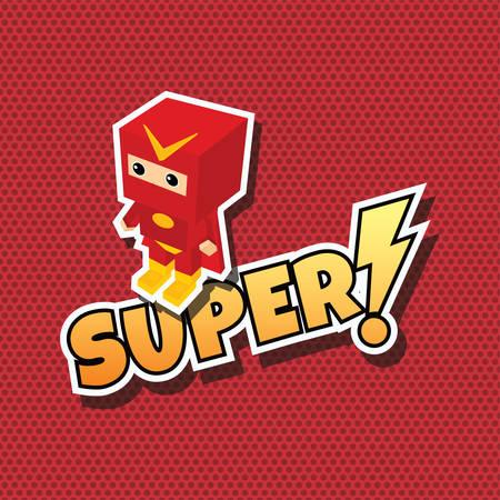 heroic: great superhero cartoon theme vector art illustration Illustration