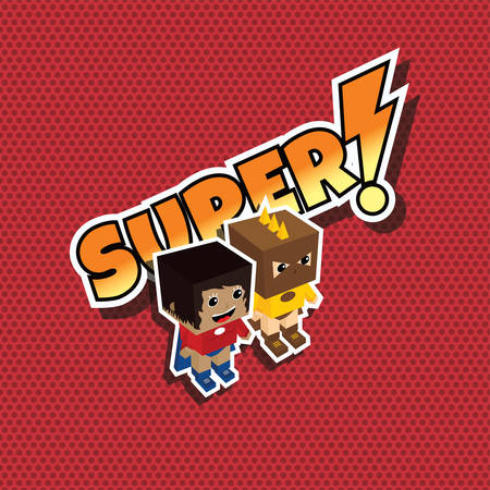 superheroine: great superhero couple cartoon theme vector illustration Illustration