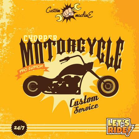chopper: custom motorcycle chopper bike vector art illustration