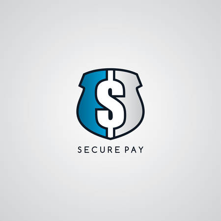 secure payment: secure payment logotype protection theme vector art illustration Illustration
