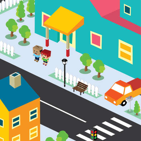 family in front of house: isometric residential view cartoon character theme vector illustration