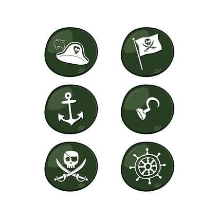 brigand: pirate sign icon set vector art illustration Illustration