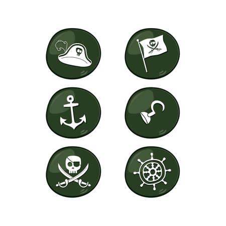 frightful: pirate sign icon set vector art illustration Illustration