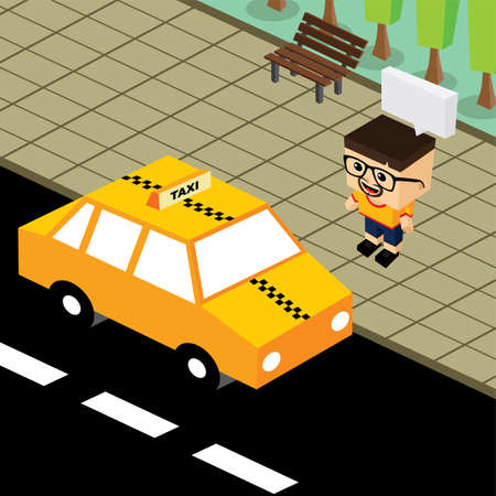 family in front of house: cartoon theme isometric taxi vector art illustration