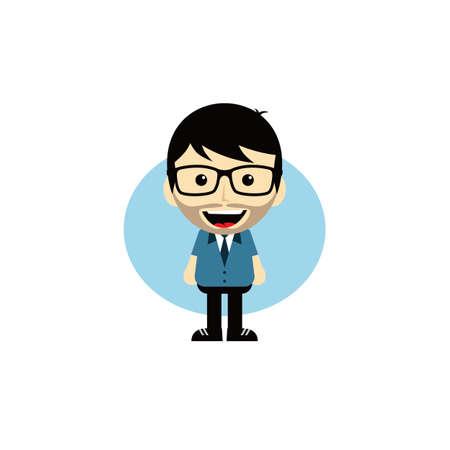 dork: geek cartoon nerd character theme vector art illustration
