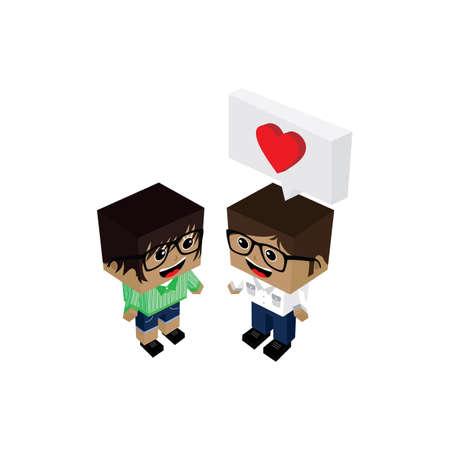 dork: couple lover in romance love theme vector art illustration Illustration