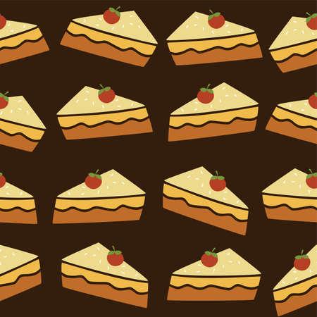 tart: cherry top tart cake vector art illustration