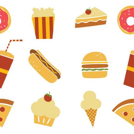 fresh pop corn: seamless fastfood restaurant theme pattern vector art illustration