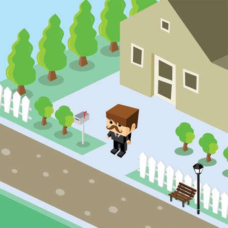 residential home: businessman residential home isometric cartoon vector art illustration