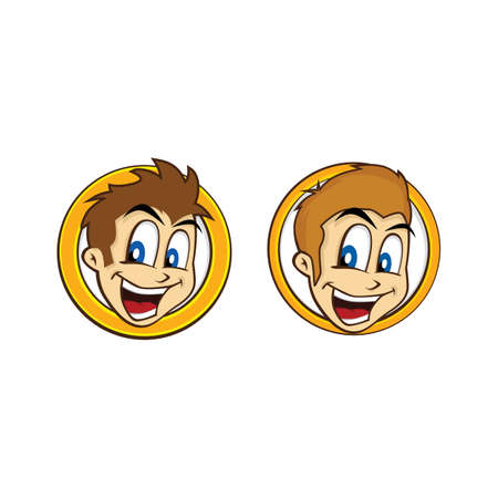 cool guy: happy guy smile cartoon theme vector art illustration