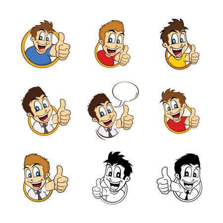 hyperactive: happy guy smile cartoon set theme vector art illustration