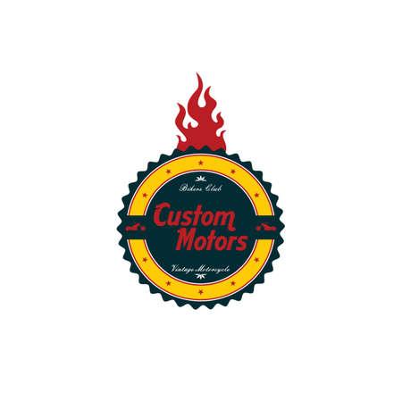 motorsports: vintage motorcycle badge theme vector art illustration