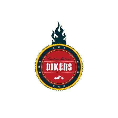 motorsport: vintage motorcycle badge theme vector art illustration