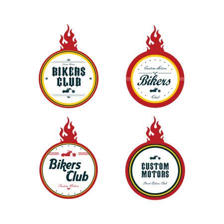 motorsport: vintage motorcycle badge theme set vector art illustration