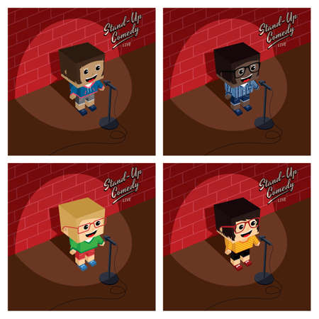 stand up comedy isometric block cartoon vector art