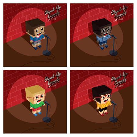 stand up comedy isometric block cartoon vector art