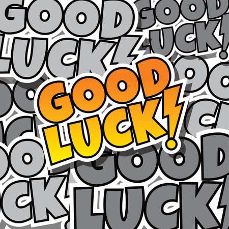 beeldverhaal tekst good luck template thema vector kunst illustratie
