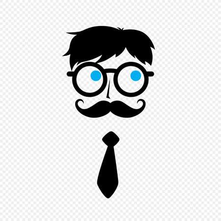 funny boy: geek nerd guy with mustache and tie vector art Illustration