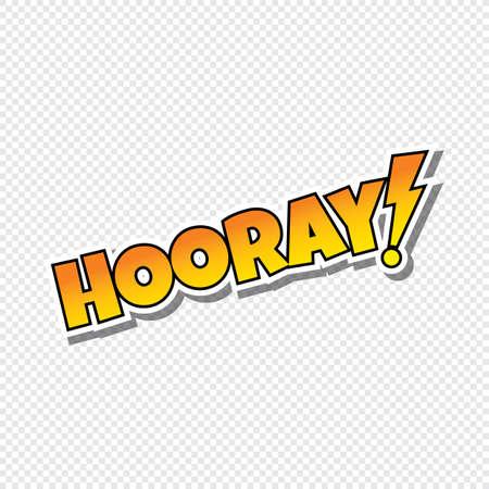 hooray cartoon text sticker theme vector art illustration