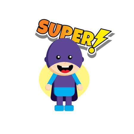 slicker: Flat style superhero character avatar on ribbon label creative design template man super hero profile full face view