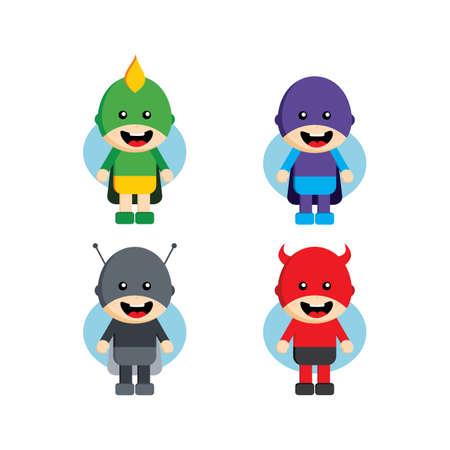 Flat style superhero character avatar on ribbon label creative design template man super hero profile full face view