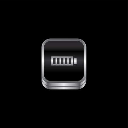button batteries: battery metal plate theme icon button vector art illustration