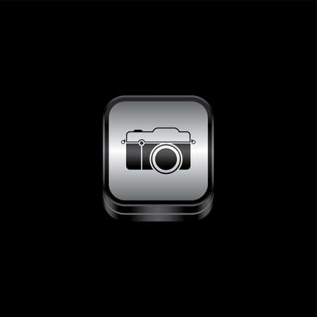 plate camera: metal plate camera photography theme icon button vector art illustration