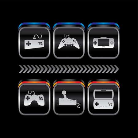 métal plaque jeu console thème icône bouton vecteur art Illustration