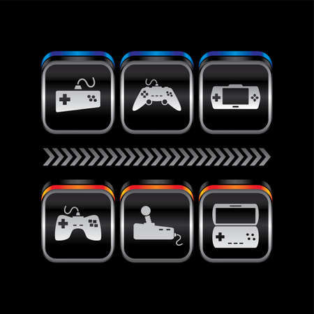 console: metal plate game console theme icon button vector art illustration Illustration